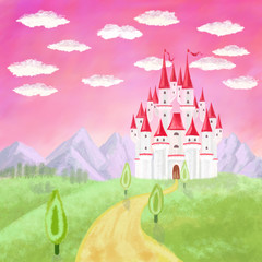 cartoon castle, trees and mountains, clouds on pink sky background