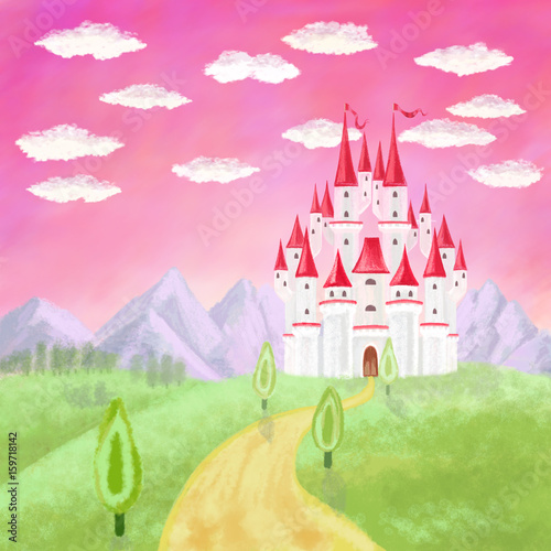 Photo Stands Candy pink cartoon castle, trees and mountains, clouds on pink sky background
