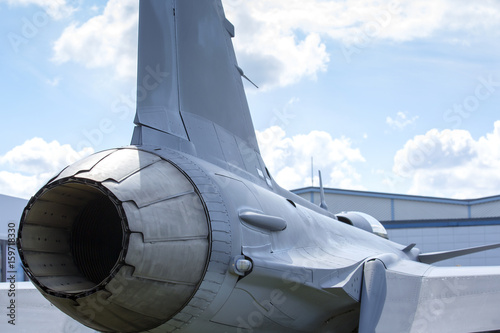 Afterburner Of A Modern Jet Fighter Round Nozzle At The End Of The