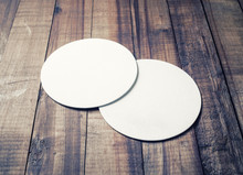 Two Blank White Beer Coasters ...