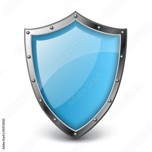 Fotografie, Tablou  Realistic blue shield vector illustration, isolated on white with metallic borde
