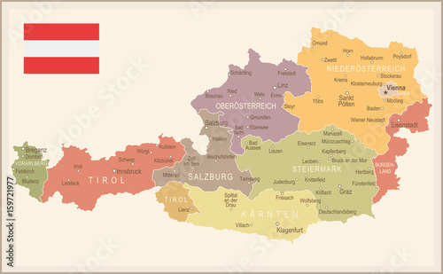 Fototapeta Austria - vintage map and flag - illustration
