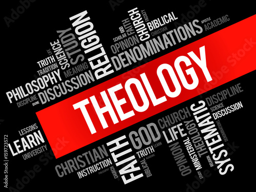 Fotografía  Theology word cloud collage, religion concept background