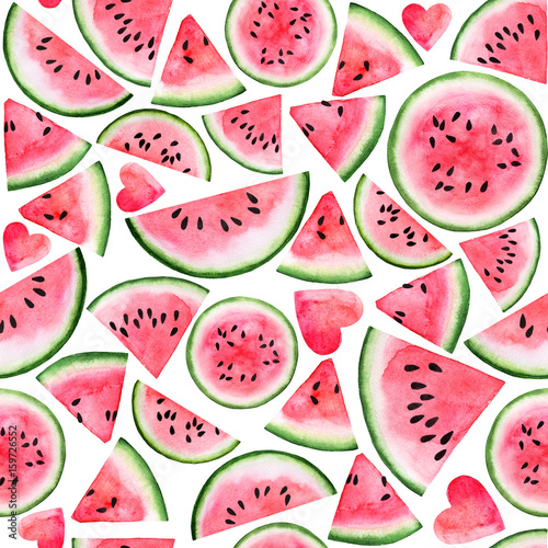 Red Pink Watermelon Slice And Seed Seamless Watercolor Background