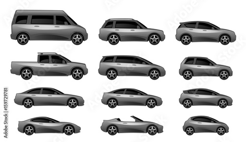Set of different car type on a white background