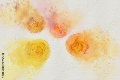 Poster Watercolor Face Abstract Flower on watercolor background, digital watercolor painting