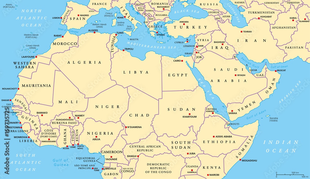 picture relating to Printable Map of Middle East identified as Image Artwork Print North Africa and Heart East political map