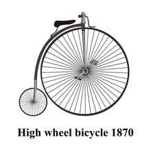 Penny-farthing Or High Wheel Bicycle  Isolated On White Background Vector Illustration