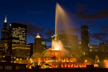 Chicago, IL , USA - Jul 17, 2010: The Buckingham Fountain In Twilight Time