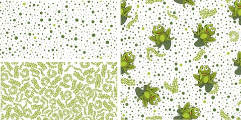 Frog seamless background. Vector illustration.. Set