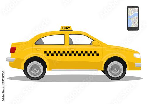 Zdjęcie XXL Żółty samochód taxi i smarthone. Aplikacja dla taksówek. Wniosek o wezwanie taksówki. Pojedynczo na białym tle