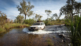 Fototapeta Sawanna - A Four wheel drive vehicle crosses a flowing creek in the far North Kimberley of Western Australia on the road to Mitchell Plateau.