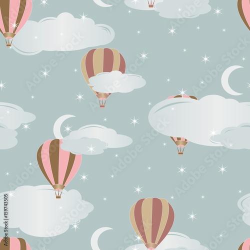 Obraz na płótnie do pokoju dziecka z wzorem w latające kolorowe balony na pastelowym tle