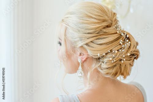 Fotografie, Obraz  Fashion bride in gray dress with make-up smoky eyes