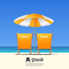Two Orange Summer Beach Chair In Back View And Orange Beach Umbrella. Blue Gradient Sky Background . Vector Illustration.