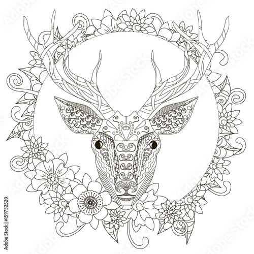Monochrome doodle hand drawn deer in flowers frame. Anti stress ...