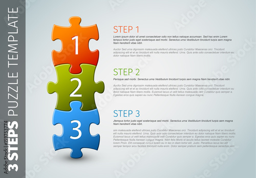 three section vertical puzzle piece infographic layout