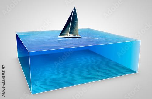 Fotografie, Obraz  Barca a vela da regata, spaccato di mare