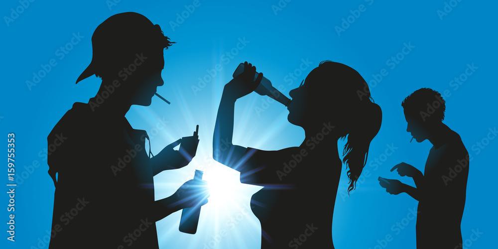 Fototapeta jeune - alcool - cigarette - addiction - ado - téléphone portable - réseaux sociaux - alcoolisme