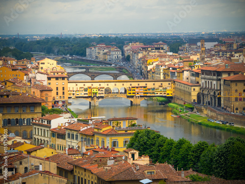 Spoed Fotobehang Europa Ponte Vecchio over Arno river in Florence, Italy. view of Florence and Ponte Vecchio.