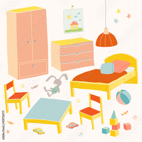 Chest Hand Drawn Cartoon Ilration, Little Girl Furniture
