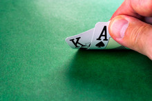 Cards On Green Surface, Hand O...