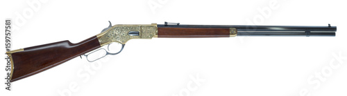 Photo Wild West Lever Action Rifle Engraved Isolated on White Background