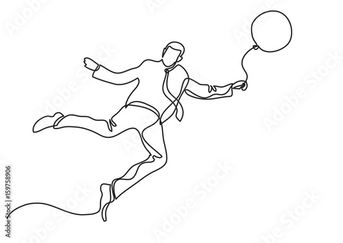 businessman flying with balloon - single line drawing - Buy this