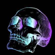 Bright Neon Sketch Of A Skull - A Trendy Idea For A Tattoo. Turquoise Violet Tone