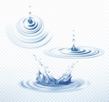 Realistic Transparent Drop And Circle Ripples Set On Isolated Background. Vector Illustration