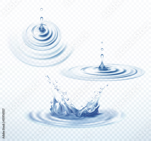 Fotografija  Realistic Transparent Drop and Circle Ripples set on isolated background