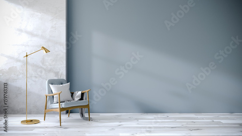 Fototapeta loft and vintage interior of living room, Blue armchairs on white flooring and blue wall  ,3d rendering obraz