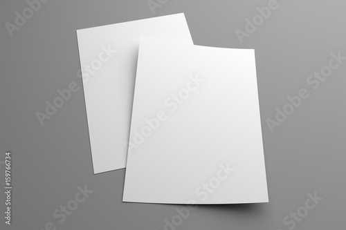 Fototapeta Blank two 3D illustration flyers mockup on gray obraz