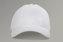 White Baseball Cap On Gray Background
