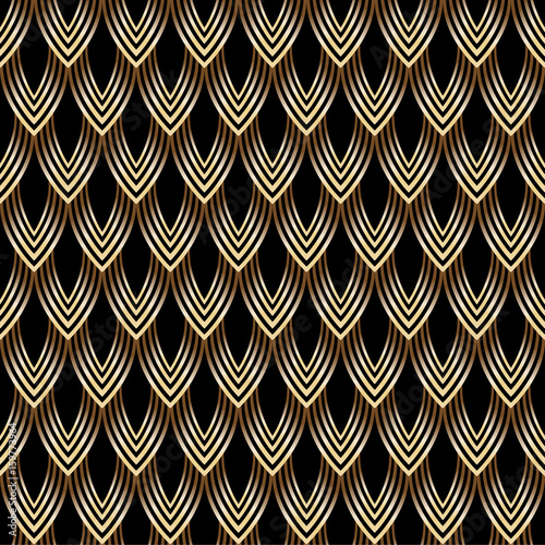 abstract-seamless-pattern-leaves-scales-gold-bronze-on-black-background-vector-illustr