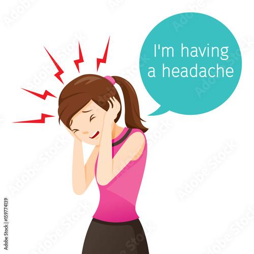 Working Woman Terrible Headache, Head, Brain, Internal Organs, Body ...