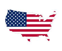 USA Flag Map Contour. Flat Style Vector Illustration.