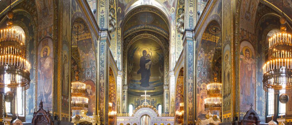 Fototapety, obrazy: St. Vladimir's Cathedral Kiev, Ukraine. Interior inside. The Vladimir Cathedral painted by Victor Vasnetsov