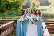 Stylish Bridesmaids With The Bride Having Fun On Nature Dnym. Trendy Wedding, Same Bridesmaids Dresses, Beautiful Bride