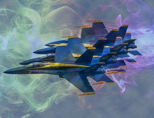 Naklejka Navy Blue Angels F18 Hornet Formation