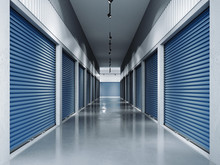 Storage Facilities With Blue Doors.3d Rendering
