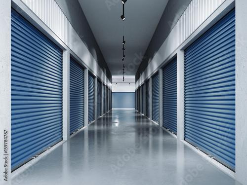 Fototapeta Storage facilities with blue doors.3d rendering obraz
