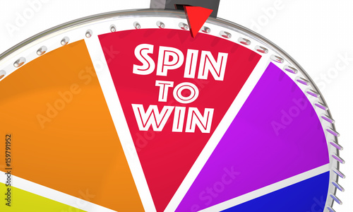 Spin to Win Game Show Wheel Play Jackpot 3d Illustration Fototapeta