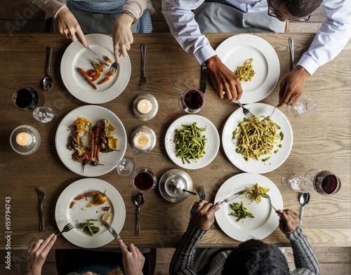 Foto op Canvas Kruidenierswinkel Friends Eating Food Together Cuisine Dish