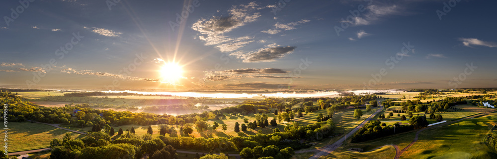 Fototapety, obrazy: Aerial Morning Sunrise on the Horizon