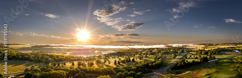 Spoed Foto op Canvas Zonsondergang Aerial Morning Sunrise on the Horizon