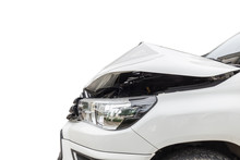 Front Of White Pickup Car Get Damaged By Accident On The Road. Isolated On White. Saved With Clipping Path
