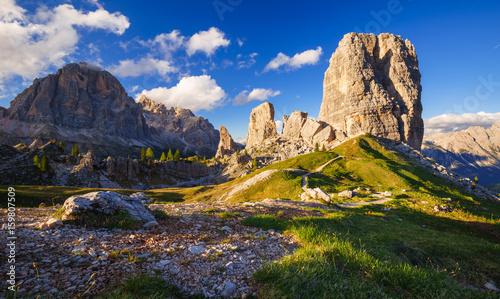 Cinque Torri mountain peak at sunset, Belluno,Dolomites Alps, Italy Canvas Print