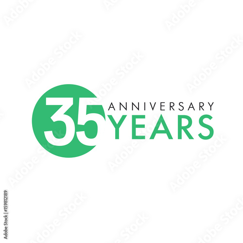 35 Years Old Round Logo Anniversary Year Of 35 Th Vector