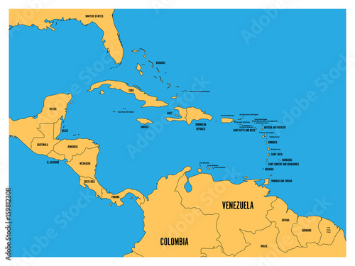 Photo Central America and Carribean states political map